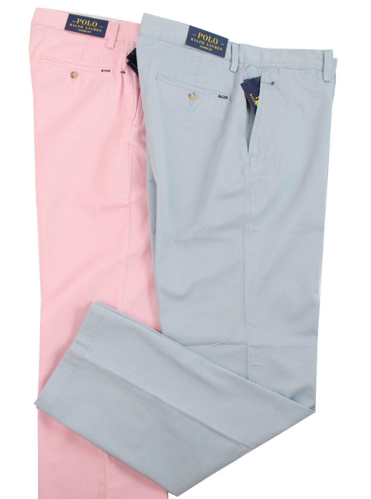 POLO RALPH LAUREN CLASSIC FIT FOSTER PINK HAMPTON blueE LOGO MEN FLAT FRONT PANTS