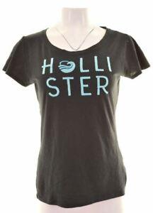 HOLLISTER-Womens-Graphic-T-Shirt-Top-Size-14-Medium-Navy-Blue-Cotton-LV20