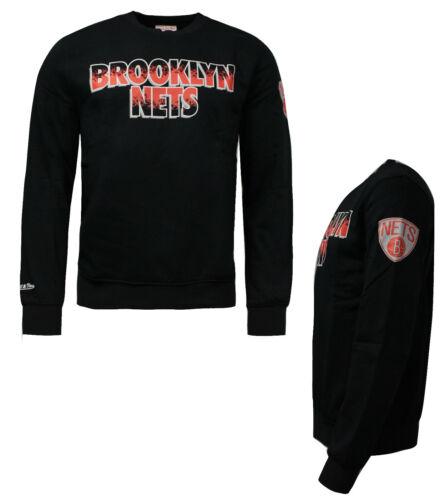 Mitchell /& Ness Brooklyn Nets a Maniche Lunghe da Uomo Felpa Maglione Nero M13