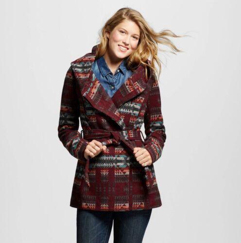 Maroon//Orange NEW Mossimo Women/'s Faux Wool Wrap Jacket Large Size