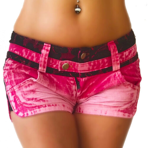 Jeans Hotpants nello sport look rosa con punta nera marchio Crazy-Chris Fit