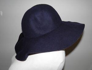 03c83ed2bb8a63 $65 J CREW Floppy Hat Navy Blue Wool Winter Fall B7444 Size S/M   eBay