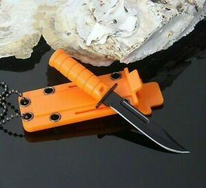 Mini Drop Point Knife Fixed Blade Hunting Combat Tactical Survival Wild Necklace