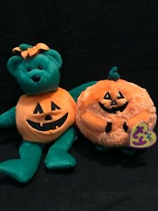 Ty Beanie Baby & beanie ball Halloween set of two: Carver the ball & Tricky