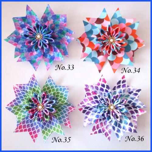 """100 bénédiction Fille Populaire 4.5/"""" Fairy hair bow clip fleur de lotus Rainbow Baby"""