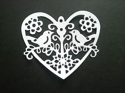 10 x Die Cut HEARTS with Birds, Embellishments, Cards, Toppers, Weddings, WHITE