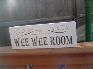 Cartello Da Appendere In Bagno : Shabby vintage chic wee wee room sign home bathroom plaque hanging