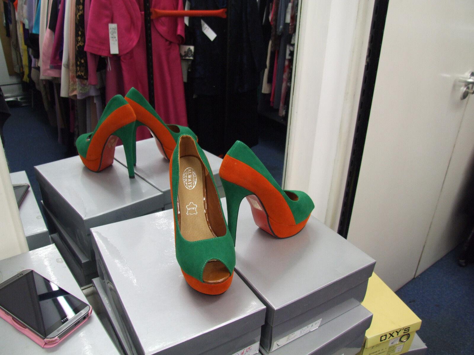 BNIB UK 3.5 Divine Green V. High Heel Emerald Green Divine & Ruset Peep Toe Suede Shoes EU 36 906fa5