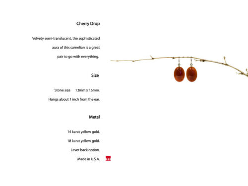 18K or 14K Oval Red Carnelian DESIGNER Earrings Lever Back Option PURE GOLD !!