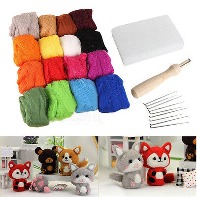 16 Colors Wool Felt + Needles Felt Tool Set Needle Felting Mat Starter Tool Kit