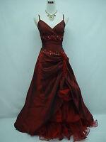 Cherlone Satin Burgundy Lace Prom Ball Wedding/Evening Bridesmaid Gown Dress
