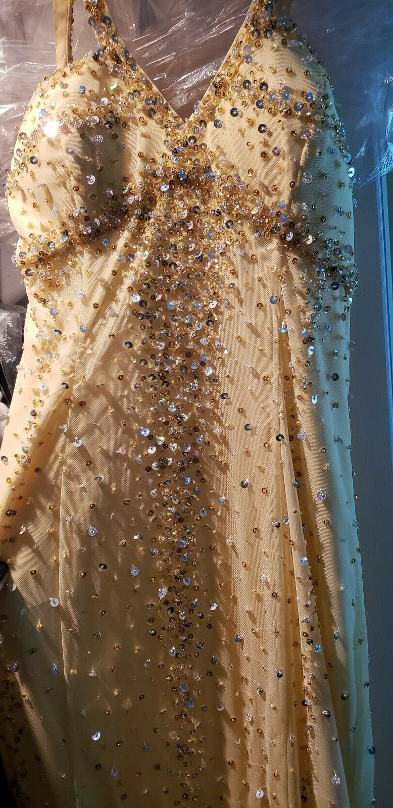 Sean collection Yellow Sequins Gown