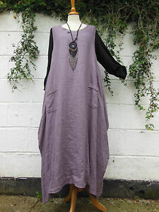 LINEN-MAXI-DRESS-SQUARE-SIDES-HEATHER-16-18-20-BNWT-LAGENLOOK-ETHNIC-HIPPY-ARTY