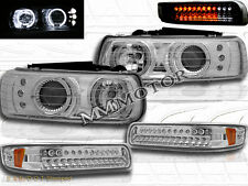 1999 2000 2001 2002 CHEVY SILVERADO HALO LED CHROME HEADLIGHTS+CHROME LED BUMPER