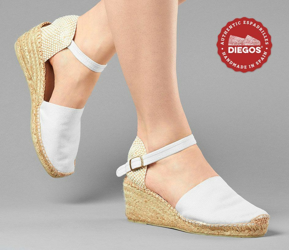 Diegos® Authentic white Carmen high wedge espadrilles   Hand made in Spain