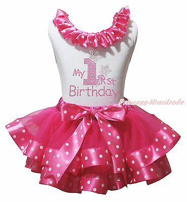 It/'s My Half Birthday Hot Pink Cotton Top Dot Satin Trim Girl Skirt Outfit NB-8Y