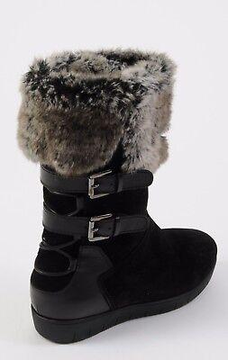 NEW Aquatalia Boots WESLYN Black Grey Suede Faux Fur Shoes size 9 Buckles Womens