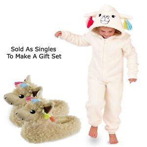 523494afa2209 Girls 1Onesie All In One Llama Hooded Matching Slippers Loungewear ...