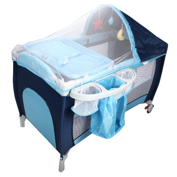 Costway Infant Travel Cot Bed Baby Play Pen Child Bassinet Playpen Entryway Blue