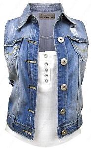 NEW-DENIM-Waistcoat-JACKET-Ladies-Jean-Gilet-Jackets-Size-8-10-12-14-16-Blue