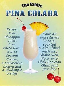 Pina Colada Cocktail Recipe Menu Vintage Style Retro Metal Sign bar pub mancave