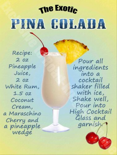 Pina Colada Cocktail Drink Recipe Wine Bar Pub Hotel 53 Small Metal Tin Sign