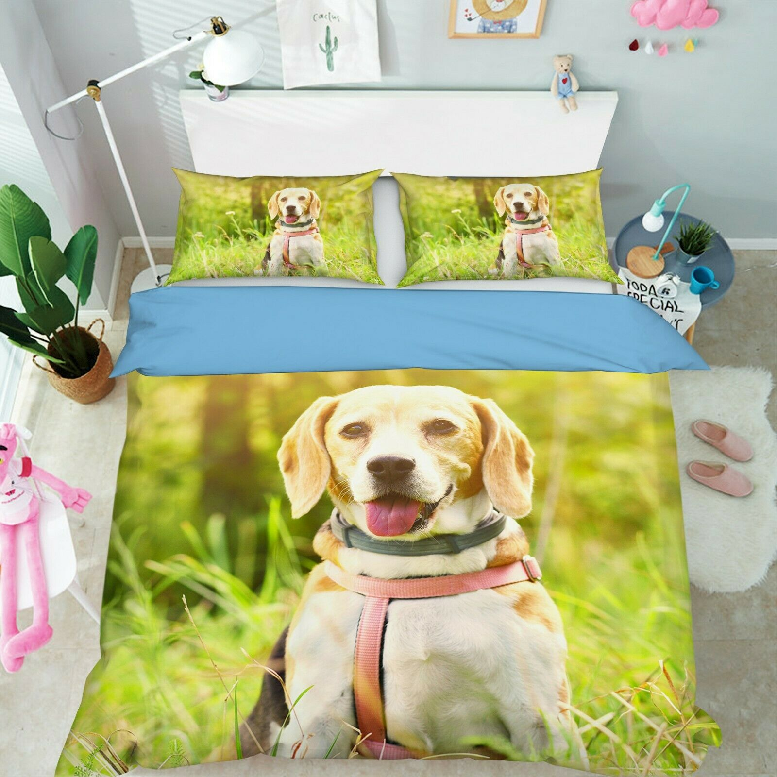 3D Pet Dog I79 Animal Bed Pillowcases Quilt Duvet Cover Queen King Angelia