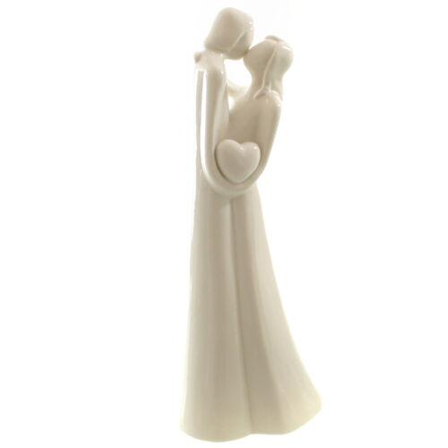 Porzellan Figur Liebespaar mit Herz weiß glasiert Skulptur Hochzeit Verlobung