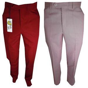 on sale 08b6d ad2c9 Dettagli su Pantaloni eleganti uomo regular cotone classico chino vita alta  44 estivi rossi