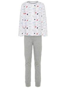 NAME-IT-Jungen-Pyjama-Schlafanzug-grau-weiss-Football-Groesse-86-bis-164