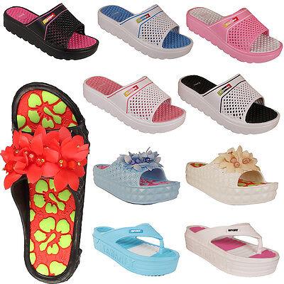 Nuevo Mujer Damas Comodidad Sandalias Ojotas de cuña Zapatos Zapatillas De Playa De Verano