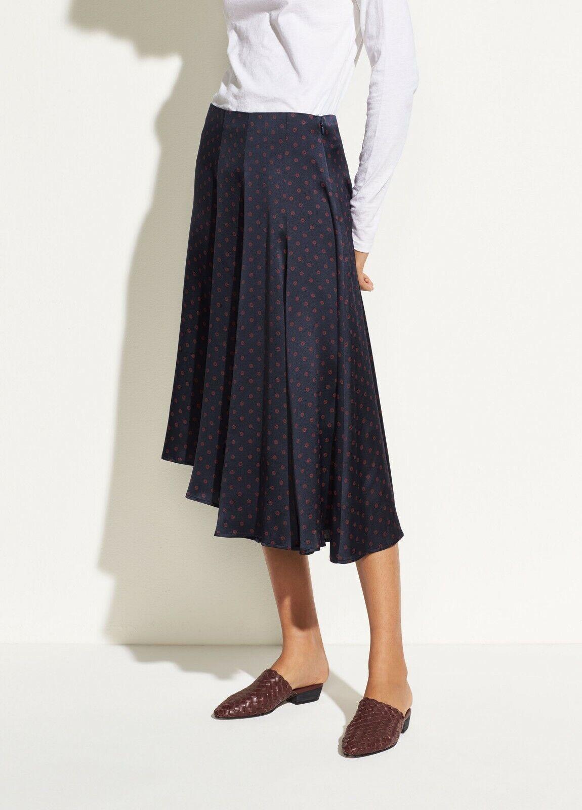 NWT Vince Leaf Foulard Asymmetric Silk Skirt Coastal bluee Size XS, M  325