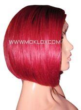 Human Hair Wig Front Lace Short Bob Burgundy Bug Red 1 Black Roots Silk Top UK