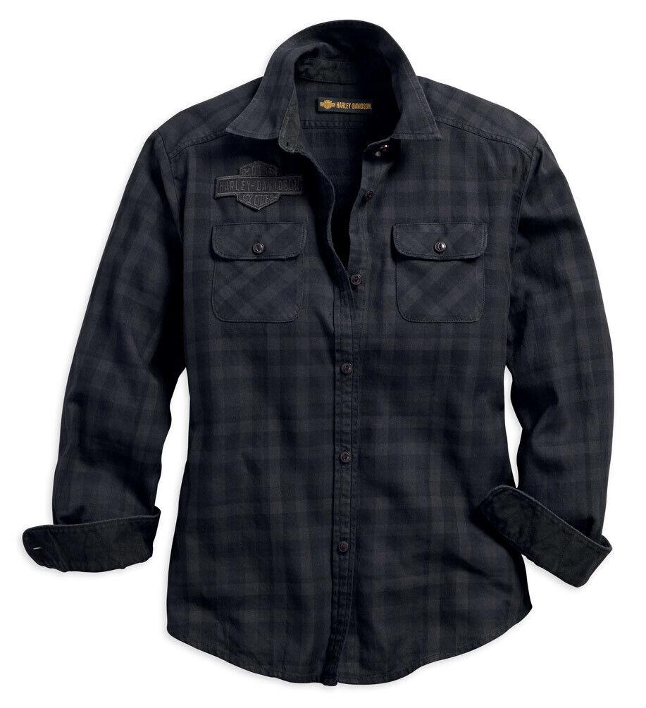 Harley-Davidson® Woherren Applique Plaid Flannel Relaxed Fit Shirt 99035-18VW