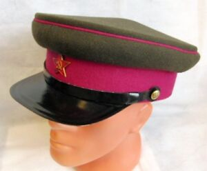 WW2 Russian Red Army Officer Visor Cap Peak Hat Red Star Badge ... 200d78b9170