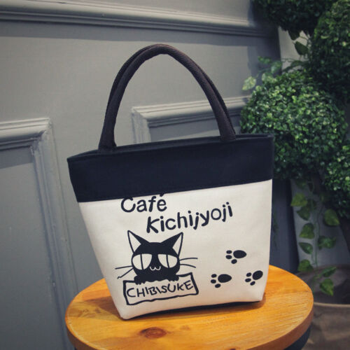 Cat Cafe Footprint Women/'s Canvas Clutch Bag Lunch Bag Box Tote Handbag