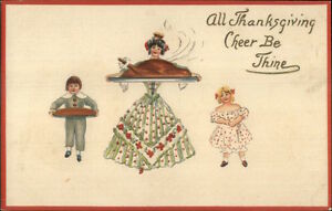 Thanksgiving-Woman-amp-Children-Serving-Turkey-Dinner-c1910-Postcard