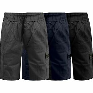 Mens-Wrangler-Summer-Elasticated-Waist-Cargo-Shorts-Pure-Cotton-Relaxed-Fit