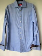 Rufus Dress Shirt Large Blue Square Design French Cuffs Button Down Made USA Men