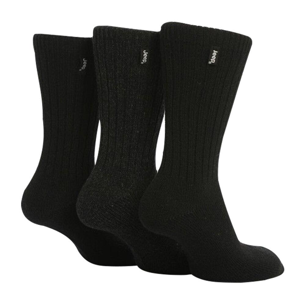 3 paires JEEP Homme Mélange Chaussettes Laine Côtelé Chaussettes Mélange De Marche Taille UK 6-11 - Noir / Gris JE2 f2cfc6