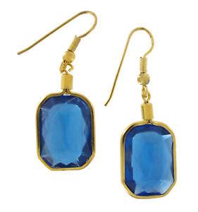 """Large Jewel Earrings 1 3/8"""" Faux Set in Gold Tone - Blue"""
