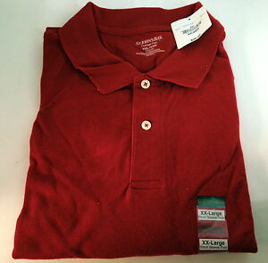 Xxl mens red heritage short sleeve polo shirt 2 button st for Mens 2xlt short sleeve shirts