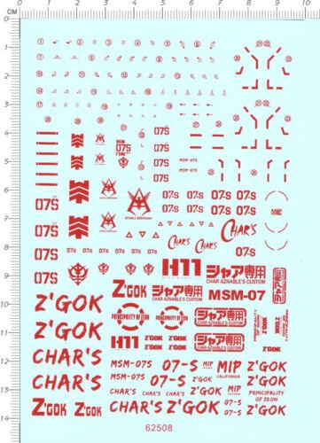 red Gundam decals RG MSM-07S Z/'Gok 62508