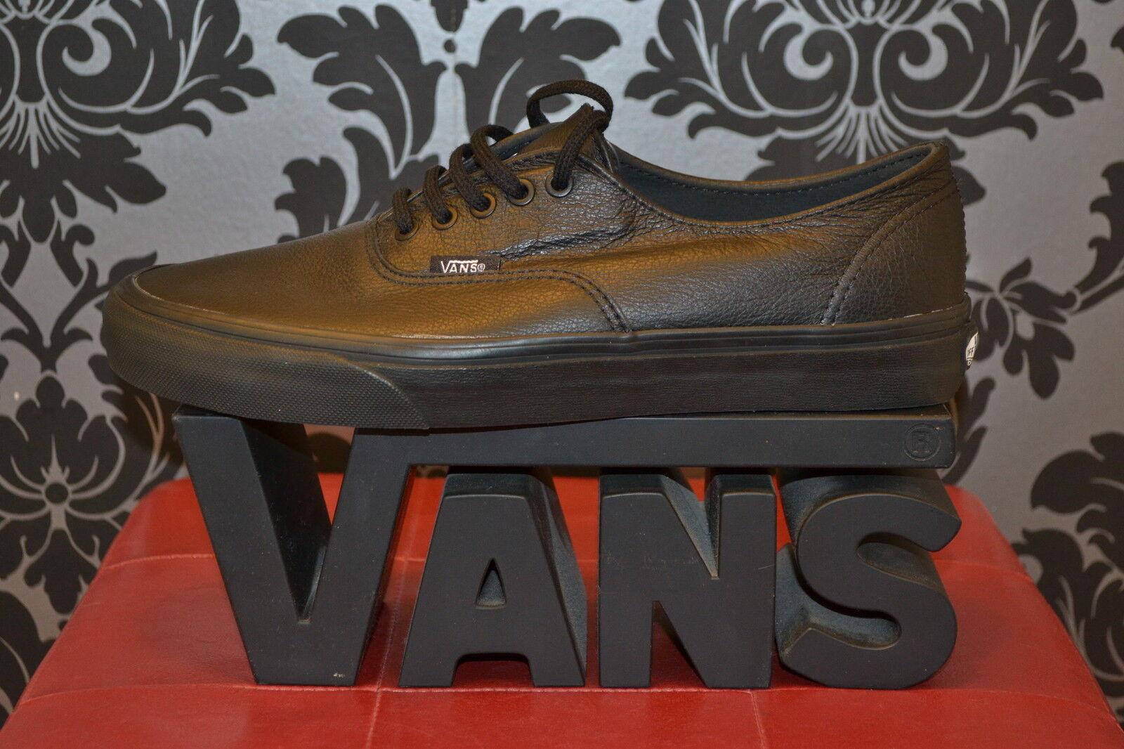 BNIB Vans Authentic trainers/sneakers Negro Mono De Cuero Con Encaje, Reino Unido 3 a 11