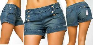 Sexy-Miss-Ladies-Shorty-Hip-Jeans-Shorts-Hot-Pants-Blue-XS-34-S-36-M-38-L-40