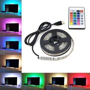 5V-1M-5M-USB-LED-Tira-Luces-TV-atras-Rgb-Cambio-De-Color-Control-Remoto