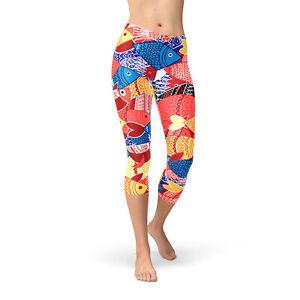 womens fish capri leggings printed colorful yoga workout