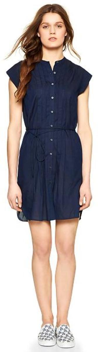 Gap Pleated Denim Shirtdress - Dark indigo L Tall