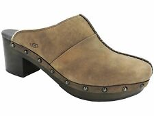 UGG Australia Kassi Leather Upper Clogs in Chocolate Brown Size 8 1013600