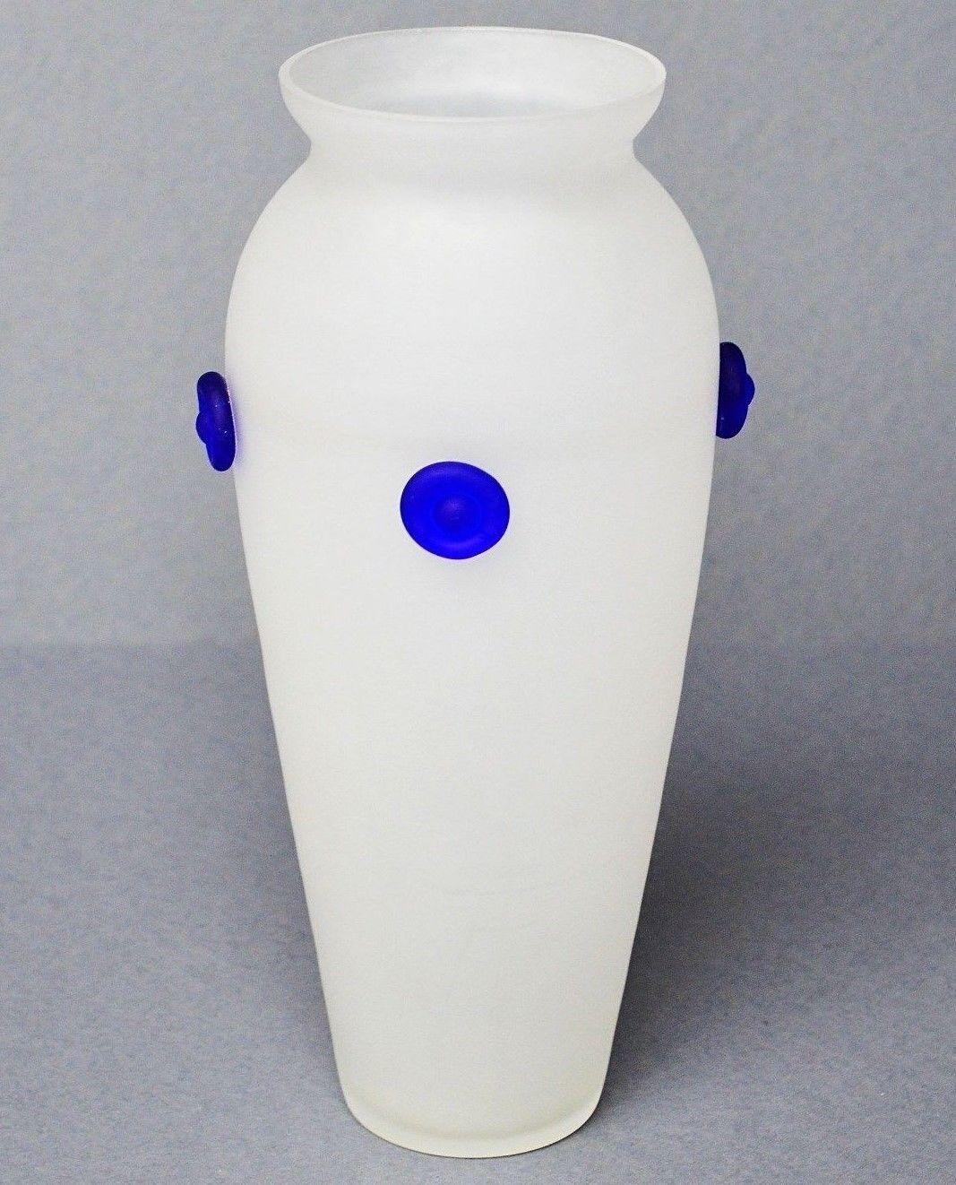 Grand vase pot verre glasvase mat avec 4 points plaquées hauteur 27,5cm